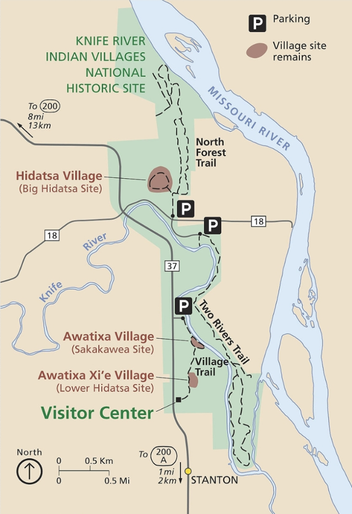 A Map of Knife River Indian Villages National Historic Site. Source: National Park Service.