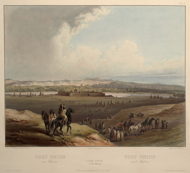 "Karl Bodmer: Fort Union on the Missouri. Aquatint from the book ""Maximilian, Prince of Wied's Travels in the Interior of North America, during the years 1832–1834"" by Prince Maximilian of Wied (Publisher: Ackermann & Co., 1839). This image shows Fort Union during its earlier years. Image Source: Wikimedia Commons."