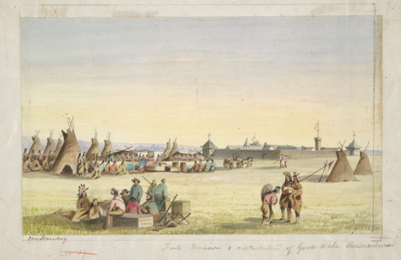 Watercolor scene showing distribution of goods to the Assiniboine, with Fort Union in the background