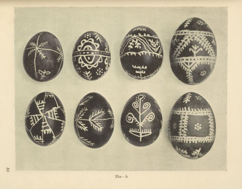 "Painted Easter eggs from the District of Neresnice-on-the Terešva (Slavic and East European Collections, The New York Public Library. 1926. ""a-h) Id"". Retrieved from https://digitalcollections.nypl.org/items/510d47e2-a4d7-a3d9-e040-e00a18064a99)"