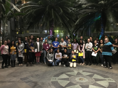 The participating local high school students and their mentors from the Department of Botany in the garden court of the U.S. Botanic Garden. (photo by Lee Coykendall)