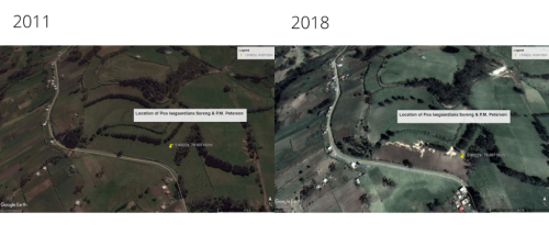 Google Earth image comparison between the area of collection in 2011 and today. With the area having been plowed, chances of the grass still existing there are small, however it may still be found along the margins of the fields. (Photo credit: Left @2018DigitalGlobe; Right @2018Google @2018CNES/Airbus)