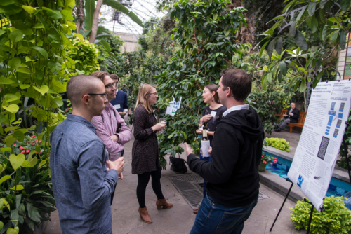 Speakers and guests interact at the closing reception and poster session of the 2018 Smithsonian Botanical Symposium. (photo by Ken Wurdack)