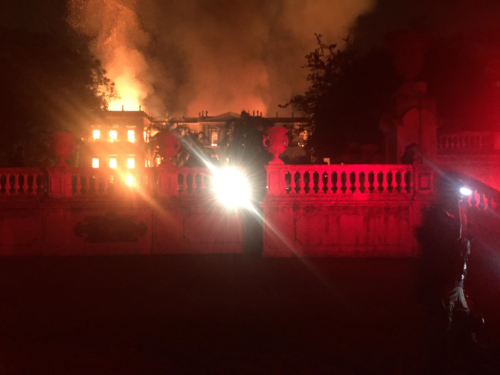 Fire at the National Museum of Brazil, in Rio de Janeiro, on September 2, 2018. Photo by Felipe Milanez (Sent by the photographer -- OTRS-sent) [CC BY-SA 4.0  (https://creativecommons.org/licenses/by-sa/4.0)], via Wikimedia Commons
