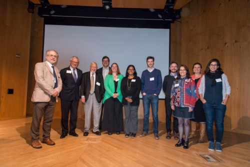 Speakers, conveners, and award recipients at the 2018 Smithsonian Botanical Symposium at the National Museum of Natural History (from left): Laurence Dorr, Sir Peter Crane, Alan Graham, Kirk Johnson, Selena Smith, Surangi Punyasena, Andrew Leslie, Jonathan Wilson, Susana Magallón, Saharah Moon Chapotin, and Mónica Ramírez-Carvalho. (photo by Ken Wurdack)