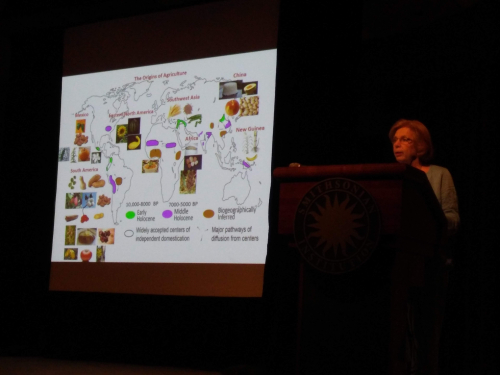 Dolores Piperno presenting the closing keynote talk on agricultural origins in the lowland Neotropics. (photo by Gary Krupnick)