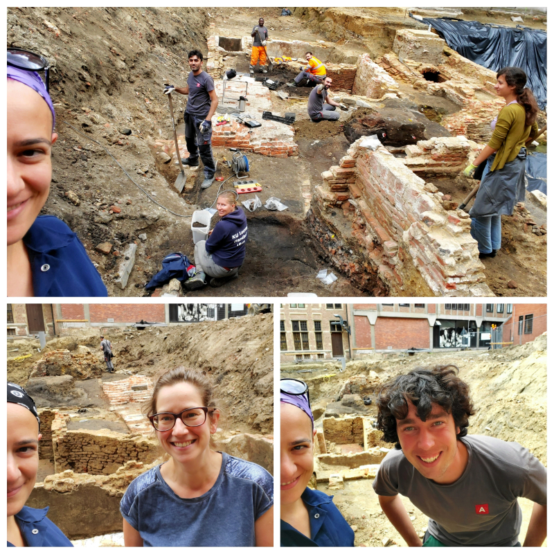 A collage of selfies of the author with the Antwerp City archaeology crew, all smiling at the camera
