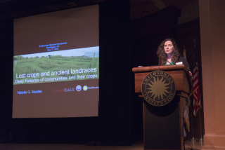 Natalie Mueller speaking about the past domestication of plants. (photo by Ken Wurdack)