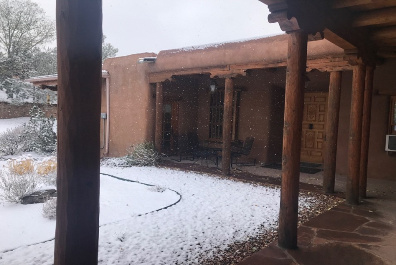 a snow-covered courtyard