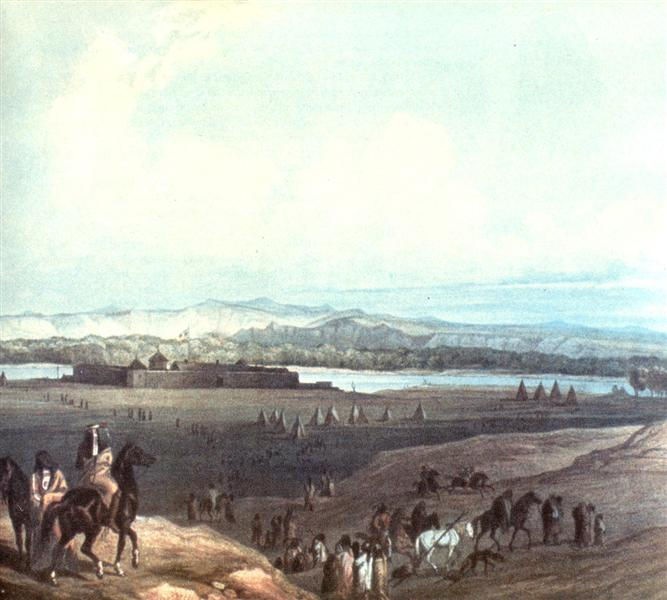 A painting showing visitors on horseback and on foot approaching a fort on a riverbank, surrounded by teepees