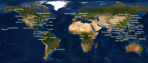 The Forest Global Earth Observatory (ForestGEO) is a global network of forest research sites and scientists dedicated to the study of tropical, temperate, and boreal forest function and diversity. The multi-institutional network comprises 71 forest research sites across the Americas, Africa, Asia, Europe, and Oceania.