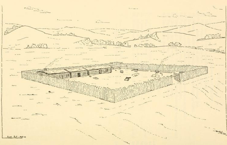 Drawing of Fort Floyd as it may have looked when it was in operation, showing palisade, buildings, and background scenery