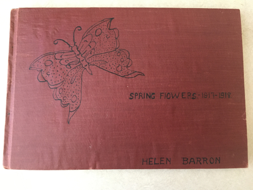 Helen Barron's herbarium book, Spring Flowers 1917-1918. (photo by Sue Lutz)
