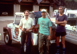 Warren Wagner (left) and other members of the field team (Steve Perlman and Jacques Florence) standing next to the only vehicle they found to rent on Nuku Hiva, during the first collecting trip to the Marquesas Islands in 1988. (photo by D. Lorence)