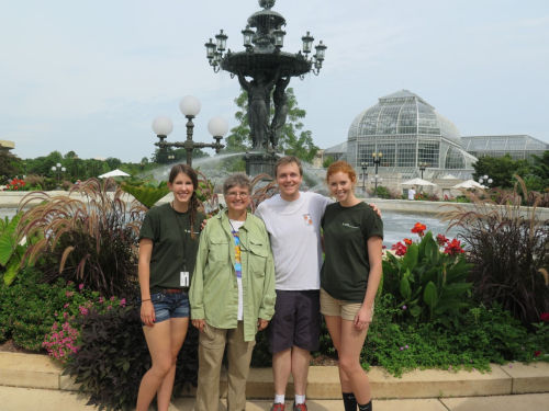 GGI-Gardens collecting team in front of the Bartholdi Fountain at the United States Botanic Garden. Left to right: GGI-Gardens intern, Kristen Van Neste; GGI-Gardens Founder and Senior Research Botanist and Curator, Vicki Funk; GGI-Gardens Director, Morgan Gostel; and GGI-Gardens intern, Sarah Gabler. (photo by Kyle Wallick)