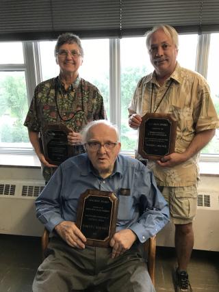 Asa Gray awardees Vicki Funk, Harold Robinson, and Warren Wagner in 2018. (photo by Carol Kelloff)