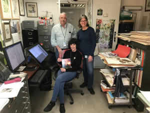 Warren Wagner with Nancy Khan (standing) and Alice Tangerini (seated), without whom the databases, web site, illustrations, and especially the two-volume set would not be possible. (photo by Smithsonian Institution)