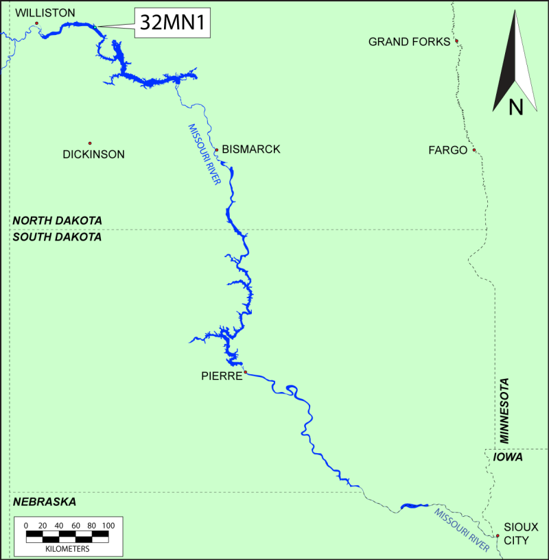 Map of the Missouri River in North and South Dakota, showing the location of Fort Floyd (32MN1) in NW corner