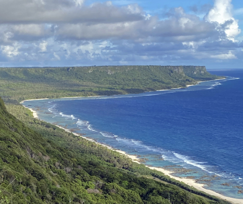 Coastal limestone cliffs of northeastern Guam. (photo courtesy of Toni Mizerek, from Lorence et al. 2020)