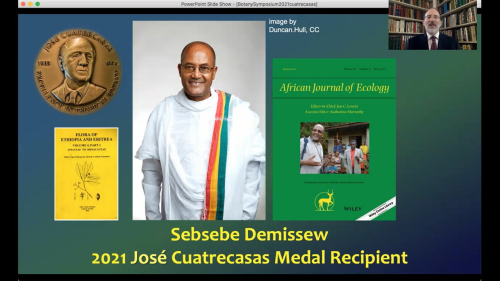 Sebsebe Demissew accepts the 18th José Cuatrecasas Medal for Excellence in Tropical Botany remotely from Ethiopia, Africa.