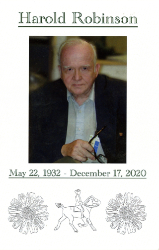 The cover of the 4-page program provided to guests who attended Harold Robinson's memorial on June 26, 2021.